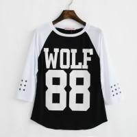 Kaos raglan EXO WOLF 88 hitam putih