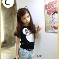 GW SE 3 C kids - Minnie Mouse Girl Sets 3 in 1 - Setelan Jeans Import