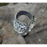 Gagang cincin perak motif ukiran boma