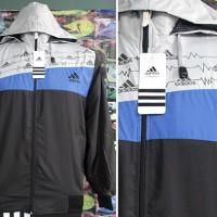 Jaket Adidas Electrik Biru Abu Hitam Parasut