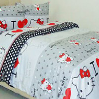 Sprei & Bedcover Katun Wina 100x200x20 - Love Hello Kitty (abu)