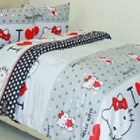 Sprei & Bedcover Katun Wina 180x200x20 - Love Hello Kitty (abu)