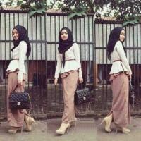 A00972 Maxi Choco + Pashmina Bahan Kaos Spandek Fit L