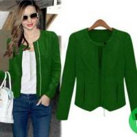 Melia (hijau) jacket sleting dpn (semi kulit)