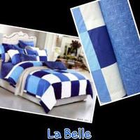 sprei motif tile kota besar dominan biru putih