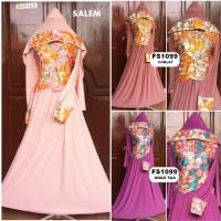 Baju Pesta Jersey Brokat + Hijab FS1099 (Kancing Depan)