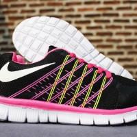 NIke Flyknit Women Hitam Pink(sepatu kets,running,wanita,sekolah,lari)