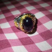 Cincin batu akik kecubung ungu kalimantan Natural