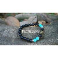 gelang batu alam matte onyx + turquoise