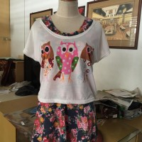 Owl flower navy Mini dress