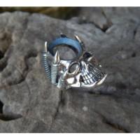 Gagang cincin perak motif tengkorang cakar