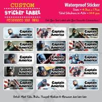Sticker Label Captain America - Stiker nama waterproof