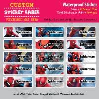 Sticker Label Spiderman - Stiker nama waterproof