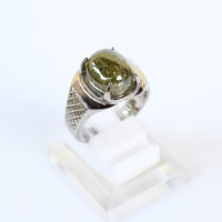 Cincin Batu Akik Pecah Seribu Hijau - Cincin Batu Pria Monel Silver