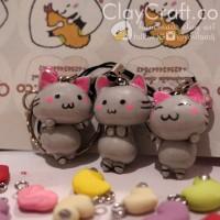Handmade Polymer Clay Kucing Abu Cat Chibi Character Anime