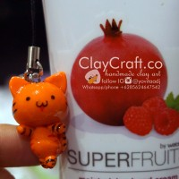 Handmade Polymer Clay Kucing Oranye Cat / Macan Chibi Character Anime