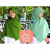 jilbab syari segi empat bolak balik hijau army-tosca muda
