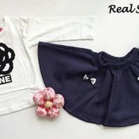 IG 267 Blue flower girl set / baju setelan anak import korea