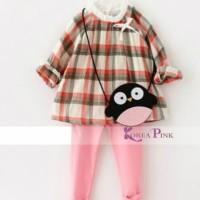 IG 218 Plaid girl shirt set korea / baju setelan anak import