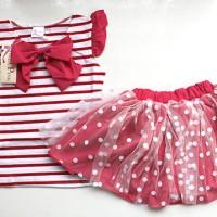 IG 223 Red stripe ribbon girl set / baju setelan anak import korea