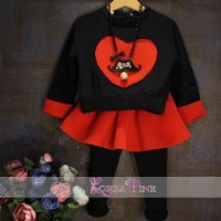 IG 266 Red love korea girl set / baju setelan anak import