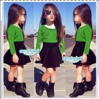 IG 187 Green shirt set import / baju setelan anak korea