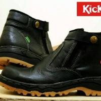 Sepatu boot proyek pria kickers safety ujung besi kulit grade ori