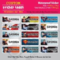 Sticker Label Superman - Stiker nama waterproof