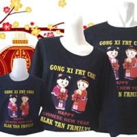 Gratis tambah tulisan-Kaos Family Imlek Gong Xi Fat Chai-Hitam