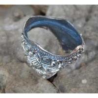 Gagang cincin perak motif ukiran bali patra samblung