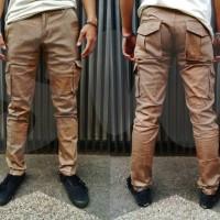 celana cargo mocca | cargo pants mocca | slimfit