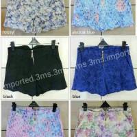 Hot Pant Flower Kombi Brukat/ Celana Pendek Import