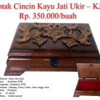 Kotak Cincin Kayu Jati Ukir Sumbawa KJ5, Eklusif dan Kokoh