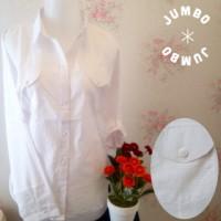 Kemeja blus putih wanita kantor kantong/saku 2 full motif salur JUMBO