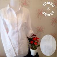 Kemeja putih wanita kantor kantong/saku 2 simple motif salur Jumbo