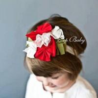 Top Baby Headband Red White Flower