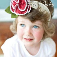 Top Baby Headband Red Flower Dots