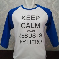 Gratis Tambah Nama-Kaos Raglan Rohani Jesus Is My Hero_Biru Putih