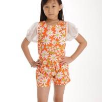 ~Cutevina~ Ficalica Orange Floral With Lace Suit (2pcs)/ Setelan FC002