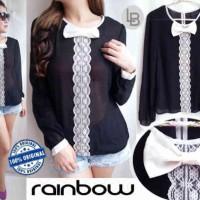 Baju Branded Murah Rainbow Black Classic Manis Gaya Korea Modern Wanit