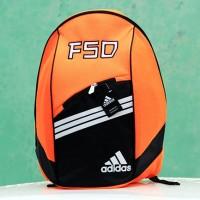 Tas Ransel Adidas F50 Orange Hitam(kuliah,sekolah,olahraga,sport,Ranse