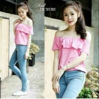 Pink Sabrina Top bangkok baju sabrina