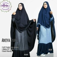 adiva set syari gamis dress denim lyra virna hitam navy