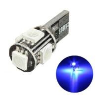 Lampu Senja LED T10 CANBUS Blue 5 Titik Mata Putih Sein Mundur Biru