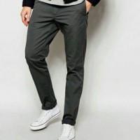 celana panjang chino pria dark grey murah