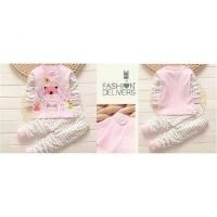 Pajamas Bear Pink  Setelan baju anak impor