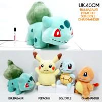 Boneka Pokemon 40cm impor Bulbasaur Pikachu Squirtle Charmender 40cm