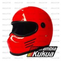 Helm Cakil Replika Simpson Super Bandit merah membara