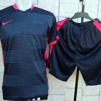 Kaos Setelan Futsal Nike Garis Navy Pink (Jersey,Kostum,Sport,Bola)