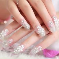 NA012 - Kuku Palsu 3D/ Nail Art / Silver Fake Nails Wedding For Bride